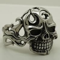 heavy & wide fired skull 316L stainless steel bangle bracelet men jewelry bracelet