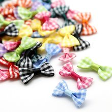 25Pcs Grosgrain Ribbon Bows 3*1.5cm Mini Stripe Ribbon Bow For Wedding Bow Tie Decoration DIY Craft Girl Hair Accessories(China)