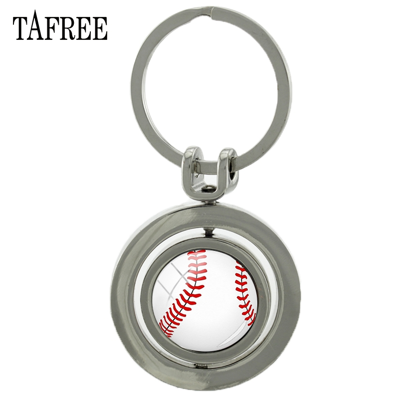 TAFREE Tennis Revolving Pendant Keychain Fashion Trendy Sports Ball Key Chain Keyring Keyholder Car Bags Men Women Jewelry SP644