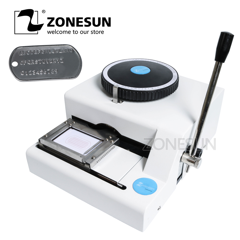 ZONESUN Manual Embossing Machine Dog Tag Engraver Stainless Steel Metal Machine Number Military Plate 52 Letters Characters