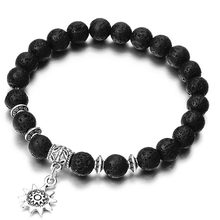 NS14 Distance Bracelet Classic Natural Stone Black Yin Yang Beaded Bracelets For Men Women Best Friend Hot Summer Jewelry(China)