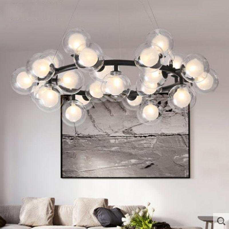 Modern minimalist circular magic beans glass ball pendant lamp nordic DIY creative art molecular G4 LED bulb pendant lighting