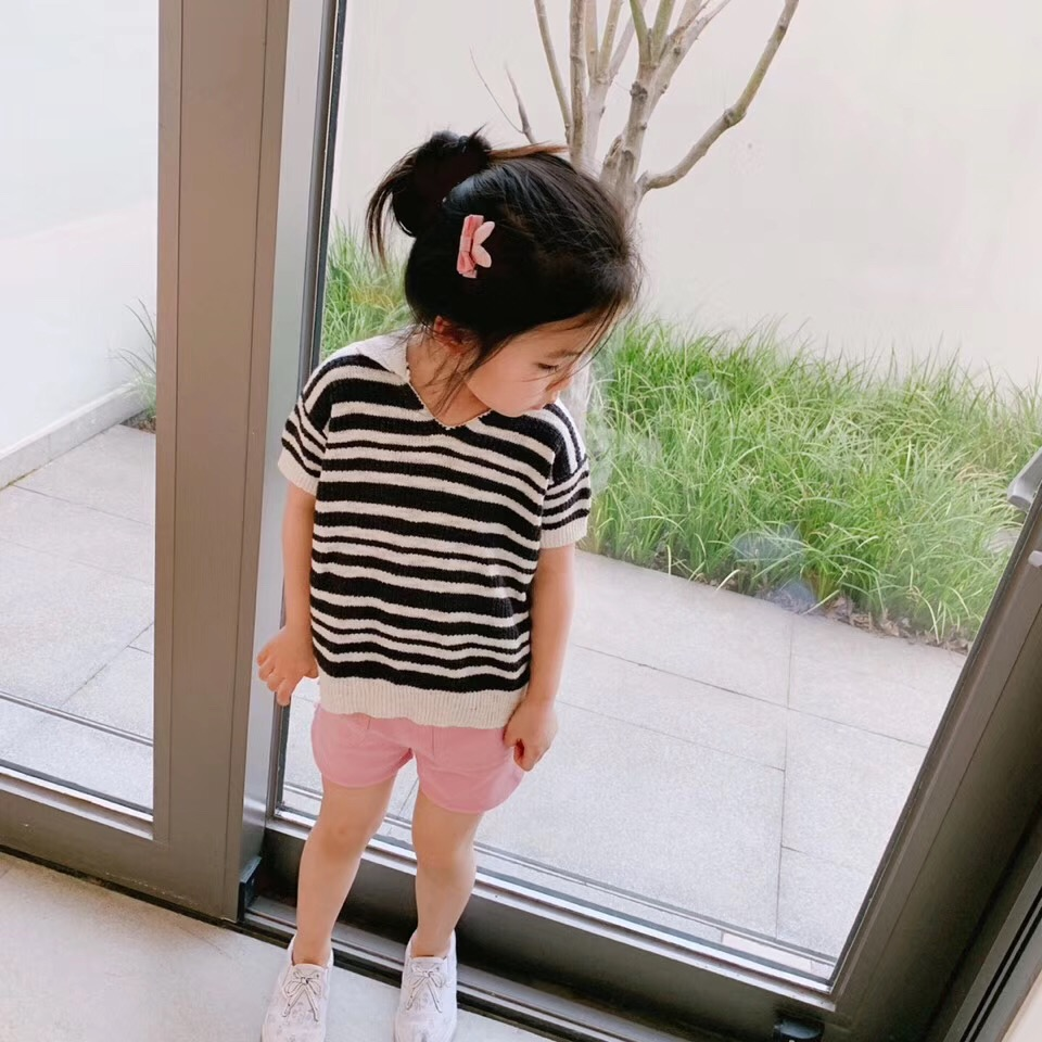 summer 2019 Kids knitted tops striped family matching outfits