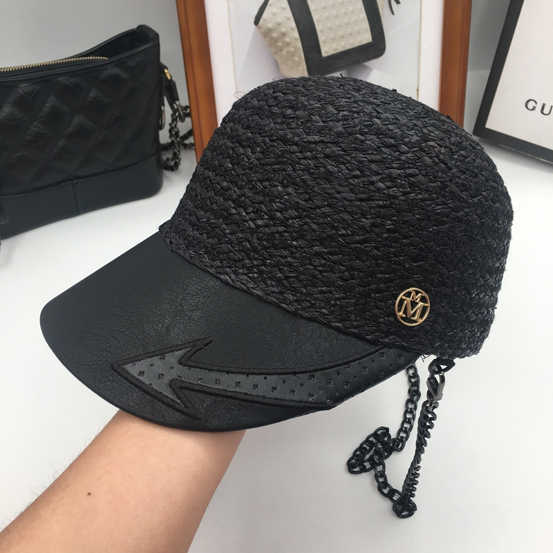 M the lafite grass splicing cap equestrian cap, baseball cap chain can pick sun bask in spring and summer days summer can be folded anti uv sun hat sun protection for children to cover the sun with a large cap on the beach bike travel