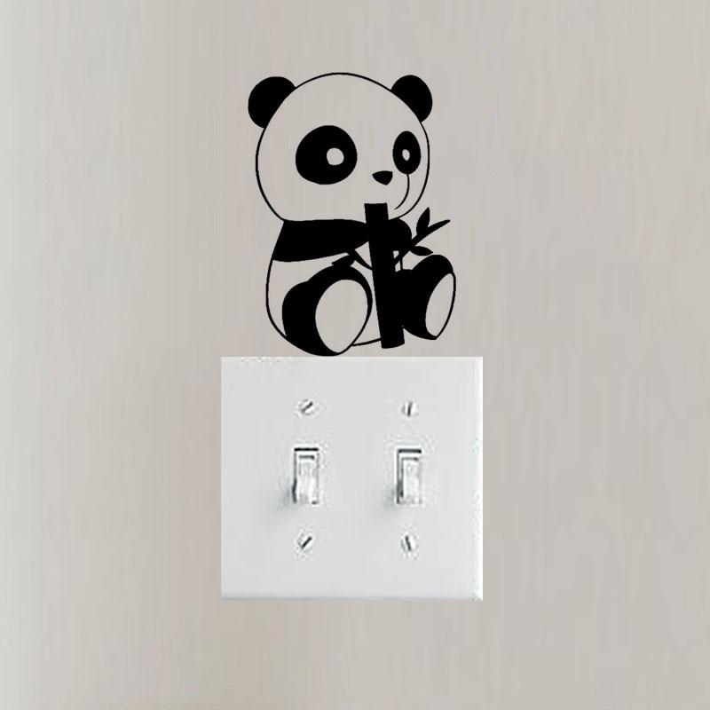 WANGZHIMING Endearing Little Panda Fashion Styling Switch Sticker Vinyl Cartoon Animal Wall Decal 3SS0272
