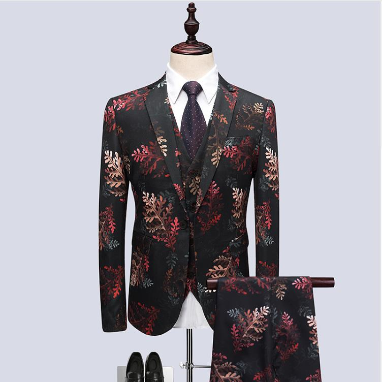 veste Robes 2019 Mariage Fit Gilet Pantalon Motif Photo Same Hommes De D'affaires Costumes Robe Feuille Mode Costume Partie Hôte Slim Color 7q7rfw