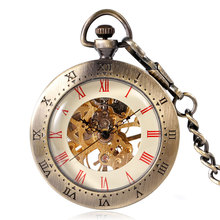 Vintage Steampunk Open Face Red Roman Numbers Mechanical Hand Wind Pocket Watch Bronze Fob Clock Unisex Xmas Gift