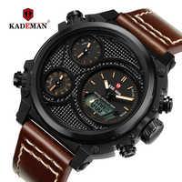 Nuevos relojes deportivos para hombre, reloj de pulsera de cuero informal, reloj Digital LED de lujo 3ATM, marca superior, reloj de negocios KADEMAN, reloj Masculino