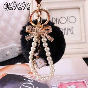 2020 Fashion Pearl Chain Crystal Bottle Bow Pompom Keychain Car Women handBag Key Chain Ring Fluffy Puff Ball Keychains Jewelry