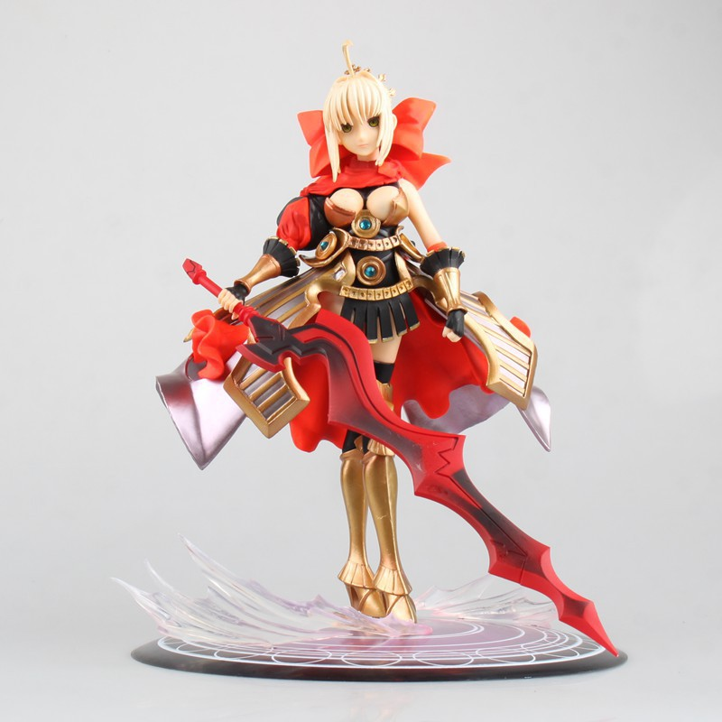 24CM Japanese anime figure Fate/night Saber red dress helmet and armour actiob figure collectible model toys for boys fate grand order anime saber jeanne gilgamesh e f g h i j series japanese rubber keychain