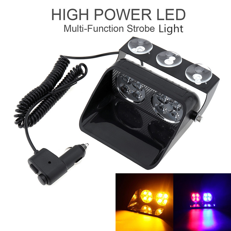 S8 24W DC12V Windshield Led Strobe Light Viper Car Flash Signal Emergency Fireman Police Beacon Warning Light 14 Flashing Modes strobe light flash emergency light windshield light s2 led emgergency strobe police flash light
