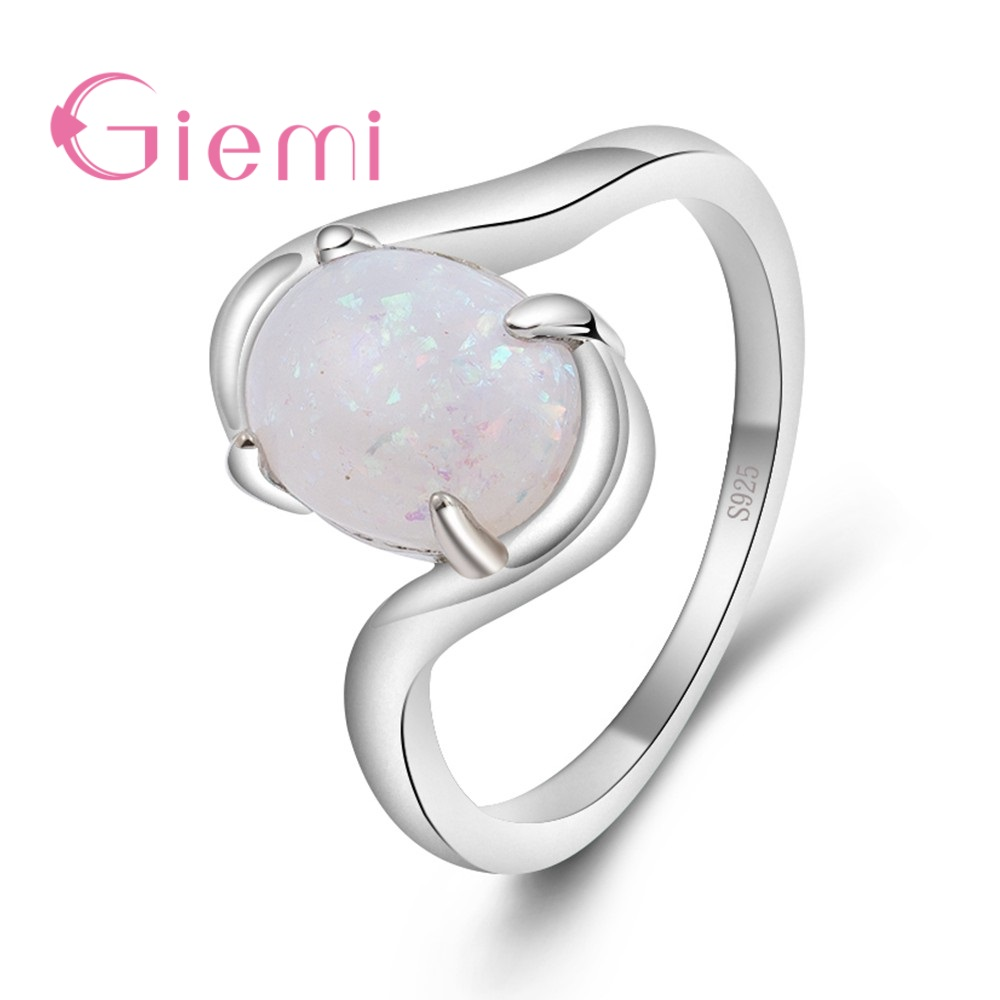 GIEMI Simple 925 Sterling Silver Cross Band Women Finger Rings Shiny Oval Opal Paved S925 Stamp Anillos for Wedding Bridal