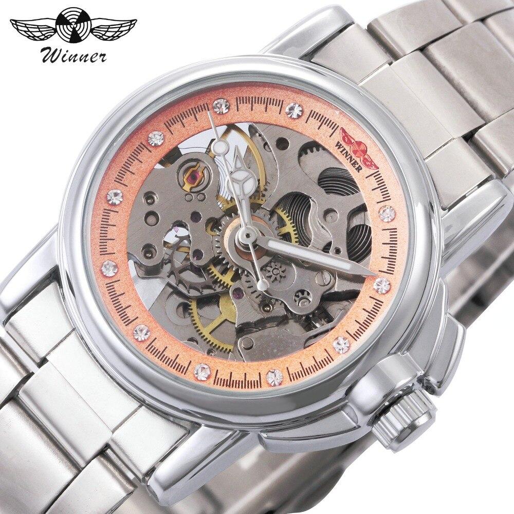 WINNER Fashion Woman Auto Mechanical Watch Stainless Steel Strap Pink Skeleton Dial Rhinestones Decoration Business Wristwatch