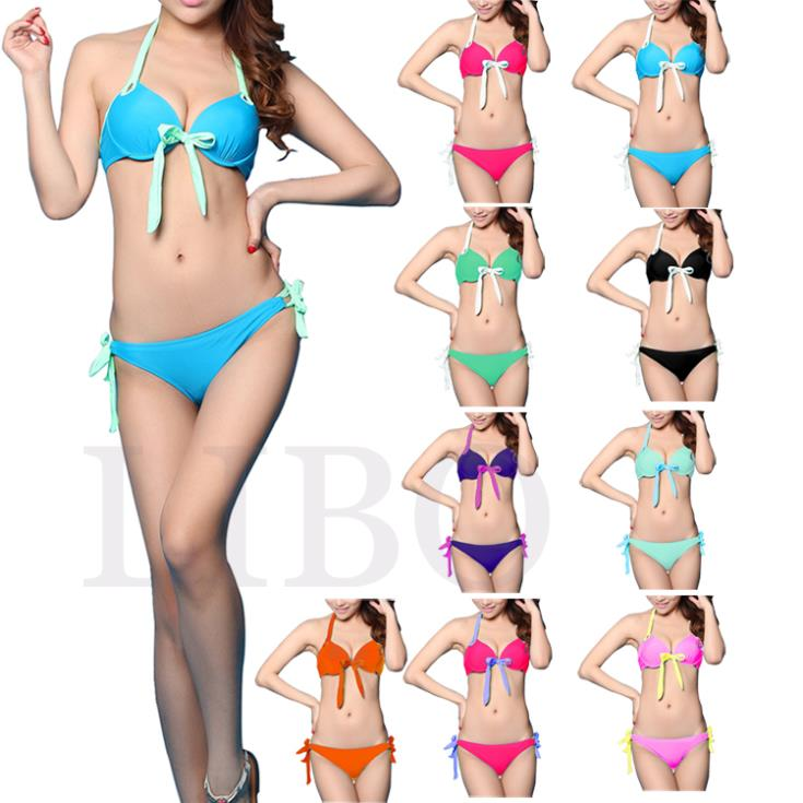 New Sexy Candy Color Push-up Padded summer Women bikini set Swimwear multicolor color Swimsuits Bandeau Top Beach Wear