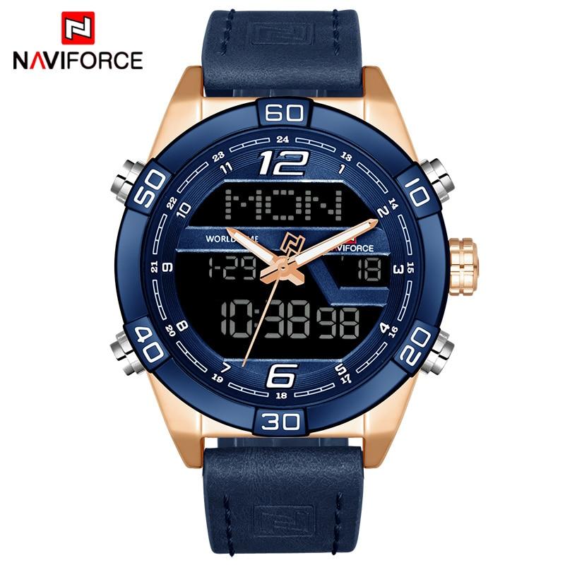 NAVIFORCE Top Luxury Brand Men Military Sport Watches Men's Waterproof Quartz Wrist Watch Male Leather Led Digital Clock 9128