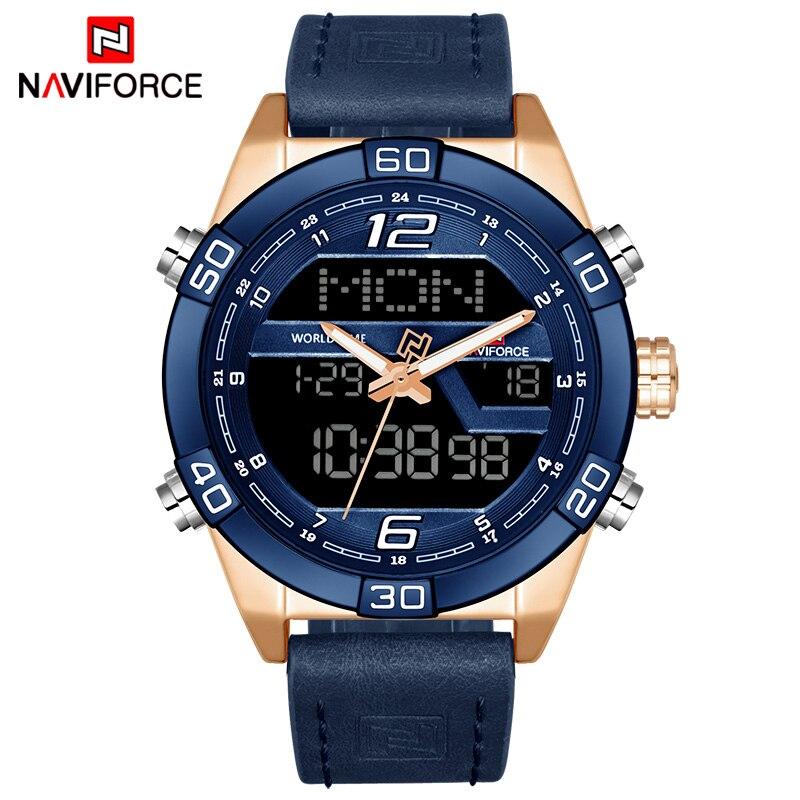 NAVIFORCE Топ Элитный бренд Для мужчин Военные Спортивные часы Для Мужчин's Водонепроницаемый кварцевые наручные часы мужские кожаные светодио ...