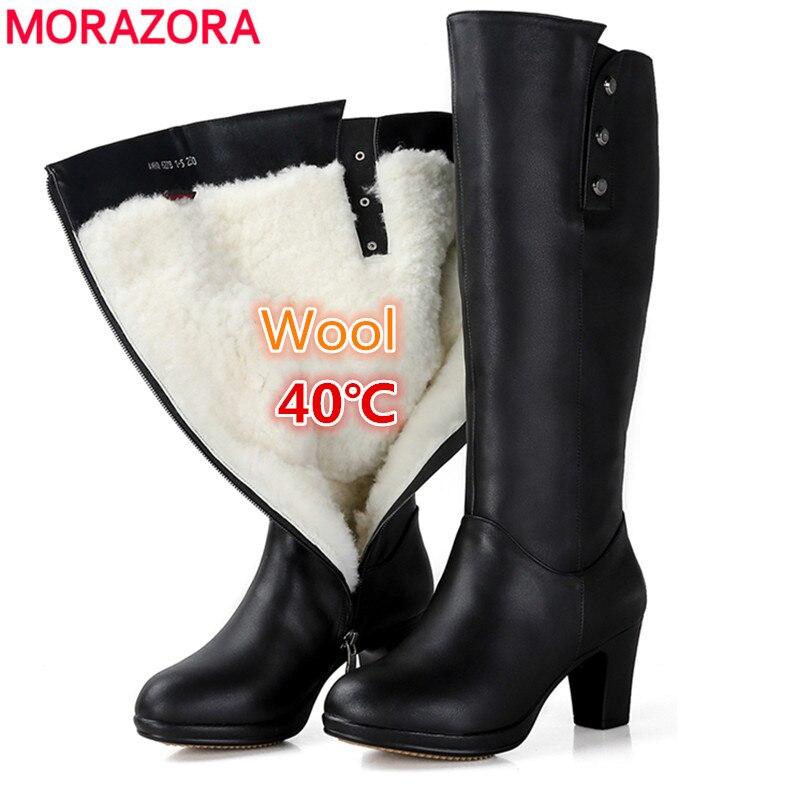 Morazora 2020 새로운 천연 양모 무릎 높은 부츠 여성 라운드 발가락 정품 가죽 부츠 패션 hihg 발 뒤꿈치 겨울 스노우 부츠 모피-에서무릎 - 하이 부츠부터 신발 의  그룹 1