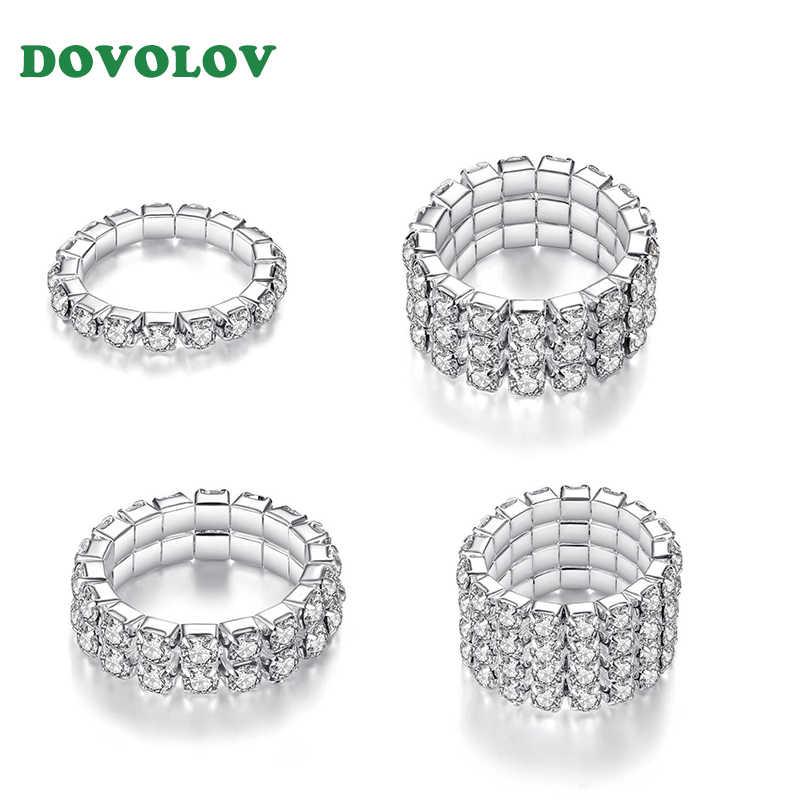 הבטחת טבעת משובץ ייחודי אירוסין חתונה לנשים 1/2/3/4 שכבות אבץ סגסוגת תכשיטי כסף נקבה Resizable טבעת D5