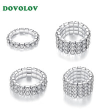 Promise Ring Inlaid Unique Engagement Wedding For Women 1/2/3/4 Layers Zinc Alloy Jewelry Silver Female Resizable Ring D5(China)