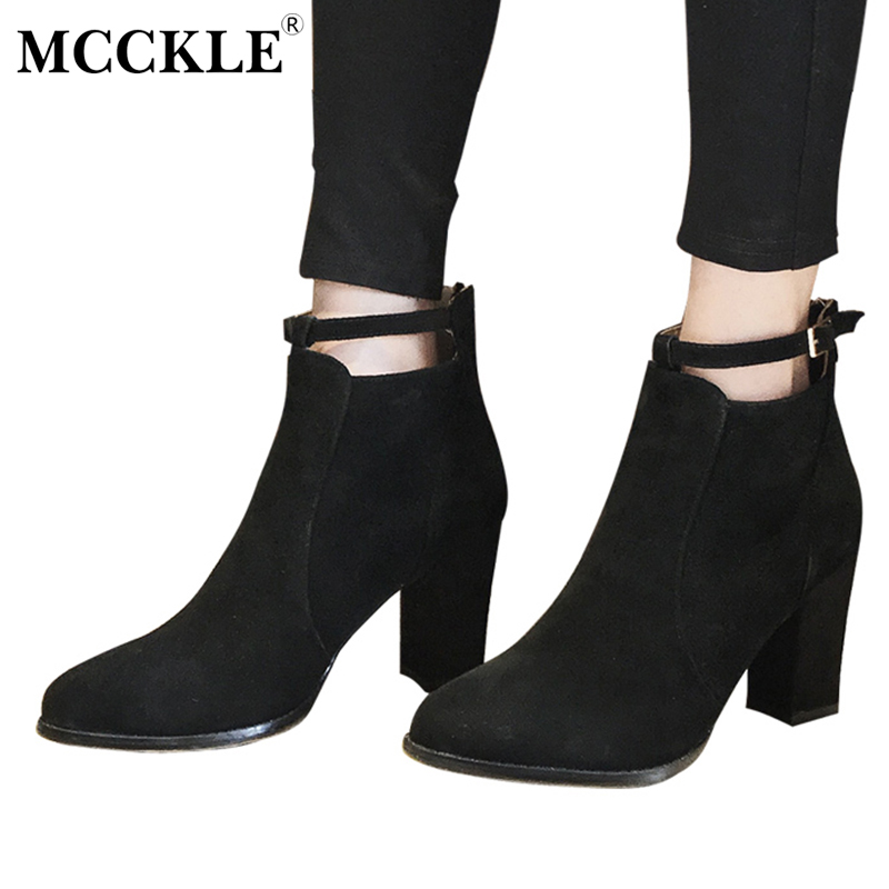 MCCKLE Woman Fashion Buckle Zip Slip On Ankle Boots 2017 Women's Flock Thick Heel Autumn Style Casual Black Platform High Heels mcckle women high heels ankle boots female buckle slip on suede shoes woman platform spring autumn casual shoes black size 35 39