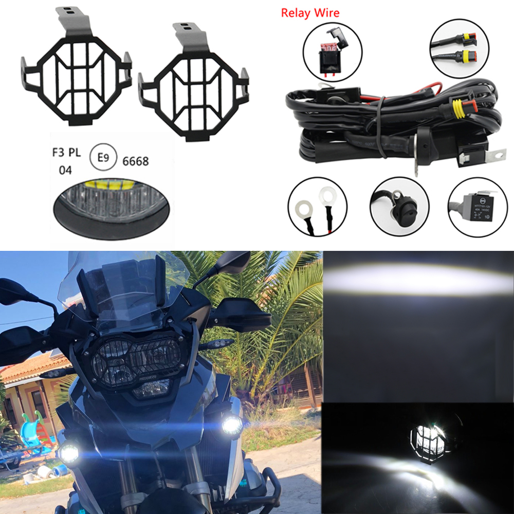 LED Motorcycle Auxiliary Lights & Protect Cover for BMW K1600 R1200GS ADV F800 Led Driving Lights For BMW R1200GS Front Brackets