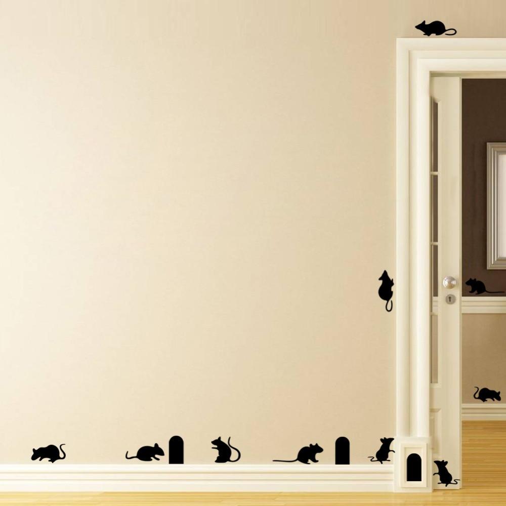 Funny Mouse hole wall stickers creative rat hole cartoon wall ...