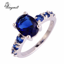 Unisex Fashion Jewelry Oval Cut Sapphire Quartz 925 Silver Ring Size 6 7 8 9