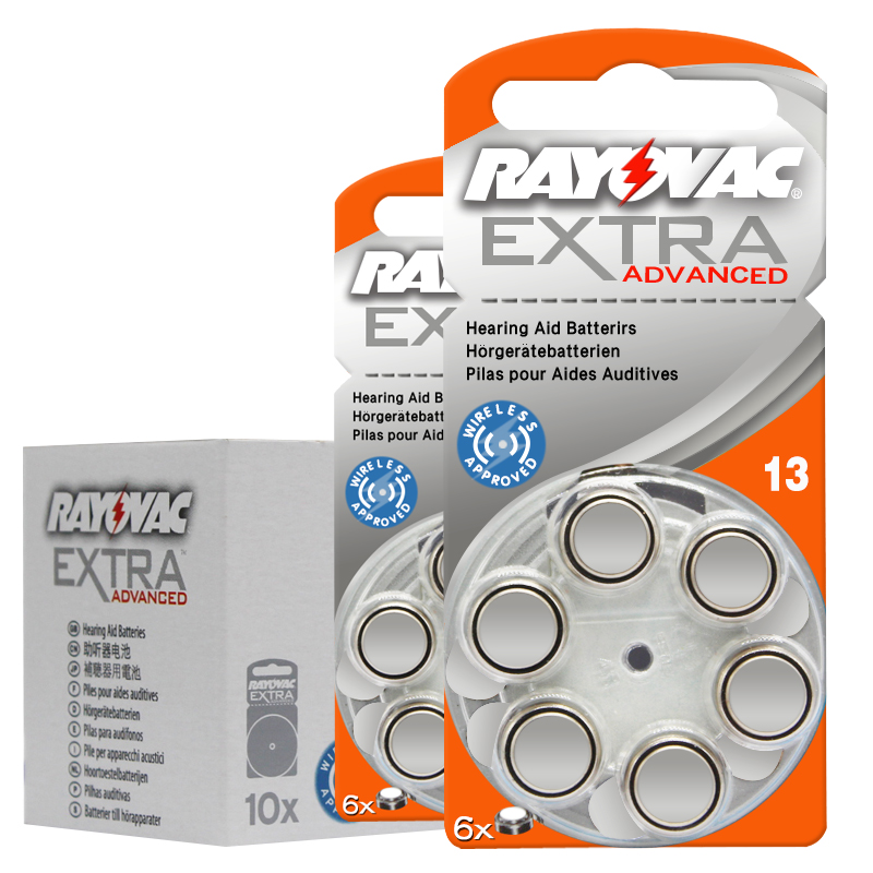 60pcs Rayovac Extra High Performance Hearing Aid Batteries. Zinc Air 13/P13/PR48 Battery for Ear care CIC Siemens Hearing aids ...