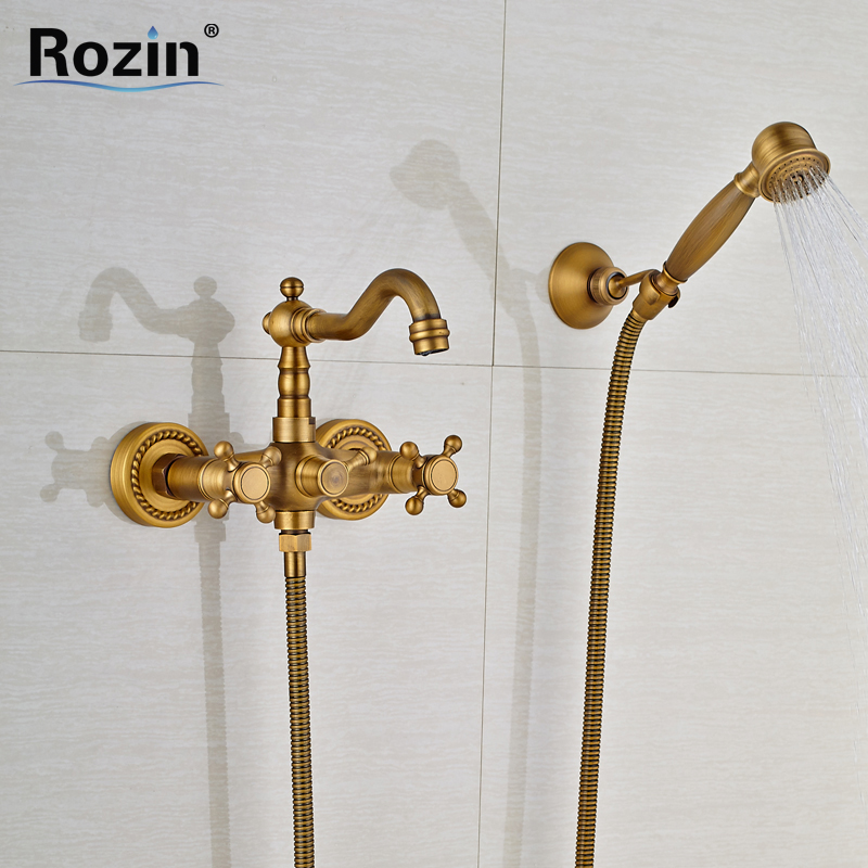 Wall Mounted Dual Handle Bathtub Shower Faucet Antique brass Handheld Tub Mixer Tap with Bracket Swivel Tub Spout antique red copper handheld shower head bath tub mixer tap wall mounted bathroom dual cross handles faucet wtf803