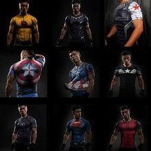 Short Sleeve 3D Tshirt Men T-shirt Avengers America Superman Captain Black Panther Fitness Compression Shirt Punisher