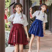 Short Sleeve Summer Chinese Traditional Hanfu Costume High School Student Stage Dresses Ancient Tang Dynasty Cosplay Clothing 90