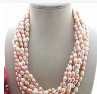 Beautiful! 8row 5x7MM pink Purple Pearl Necklace