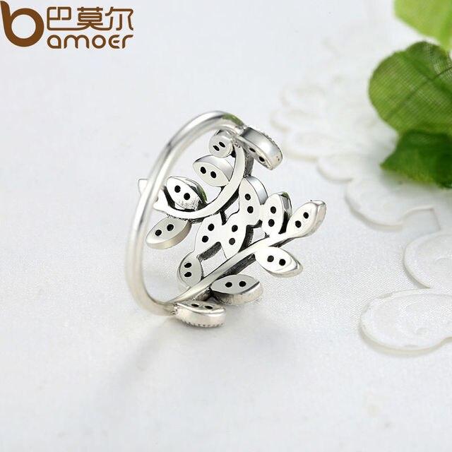 BAMOER 925 Sparkling Silver LEAVES ANELLO CON CUBIC ZIRCONIA per le Donne Gioielli Originali PA7114