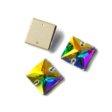 New arrival Square Crystal AB sew on rhinestones buckle Strass glass Diy jewelry clothing accessories