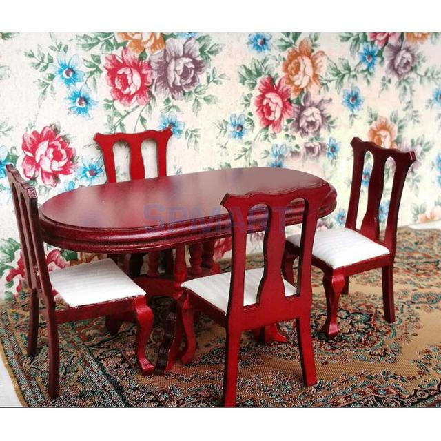 1 12 Scale Dollhouse Dining Room Furniture Table With 4 Chairs Set