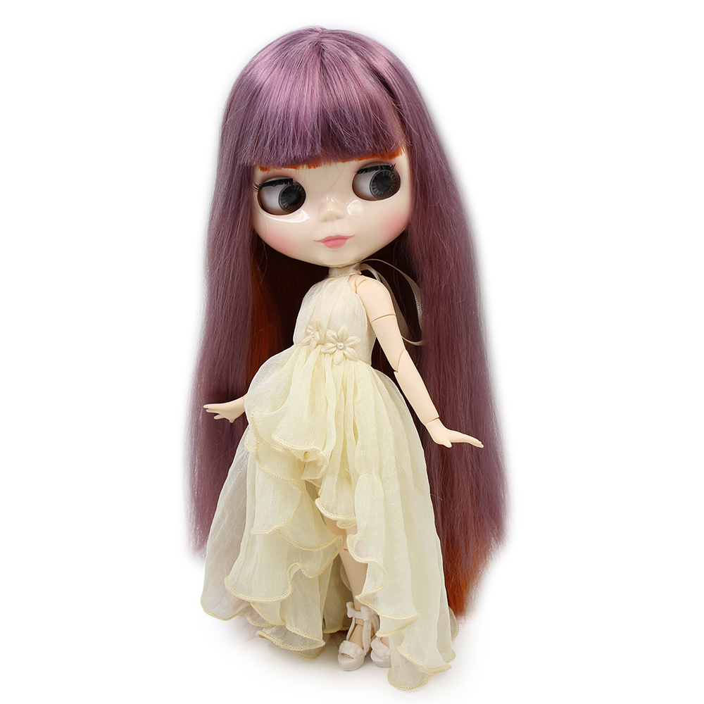 Blyth 1 6 Nude Doll Purple mix Red brown hair white skin JOINT body Neo with