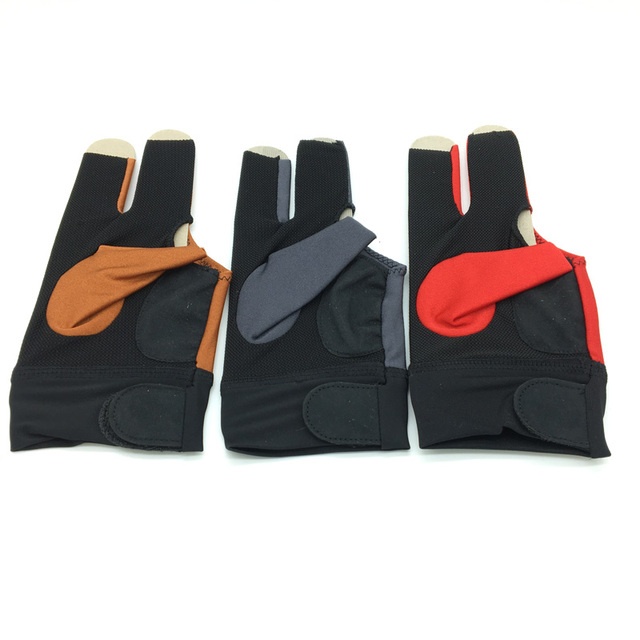 10pcs/lot High elastic fabric Adam Billiards Gloves free shipping Half-finger and left-hand Punch sheet snooker cue gloves 1