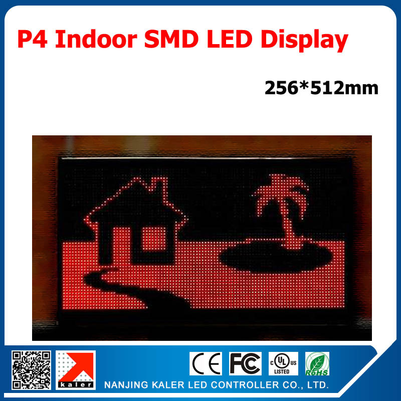 256x512mm P4 LED Display Unit RGB Full Color Super Bright Indoor P4 LED <font><b>Billboard</b></font> Running Message LED <font><b>Sign</b></font> for Store + Business image