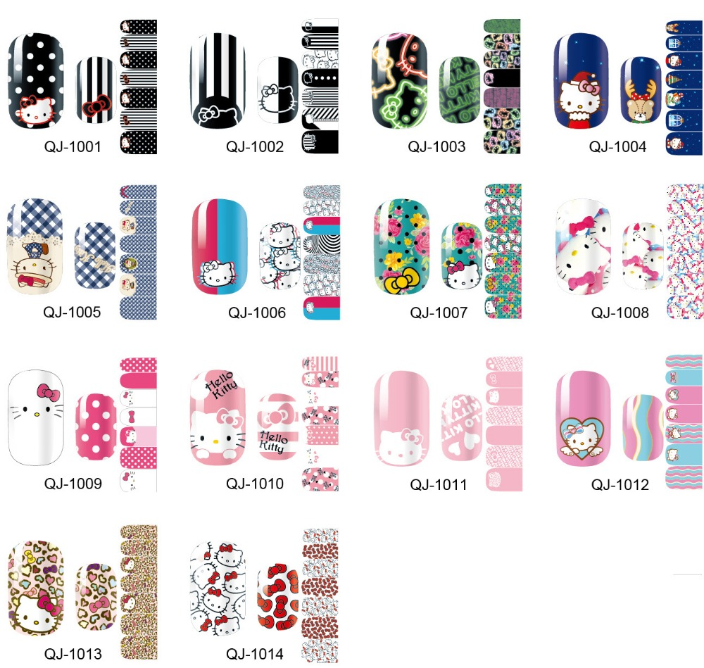 QJ1001-QJ1014 HelloKitty series Colorful Nail Full Paste 1 Sheet Nail Art Stickers Catcher Manicure Nails Accessoires