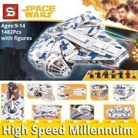 SY Bricks 1077 legoings star movie wars Force Awakens millenniumly 75212 Building Blocks Educational toys Kids birthday DIY gift
