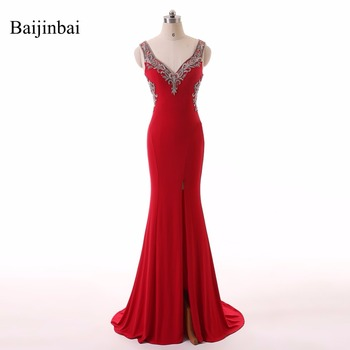 New Vintage Red Beading Sequins Sleeveless V Neck Trumpet Long Prom Dresses 2020 Front Open Taffeta Sweep Train Formal Dress 003