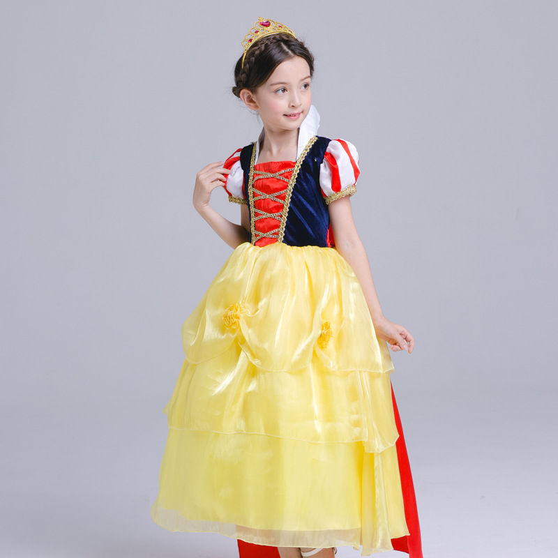 цены High Quality Snow White Princess Dresses Girls Halloween Schneewittchen Cosplay Dress Kids Children Cartoon Christmas Clothing