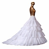 ANTI Free Shipping 2017 Wedding Accessories 5 Layers Petticoats A Line Train Underskirt For Bridal Dress