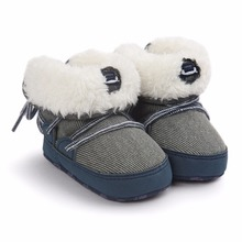 New Winter Baby Boots Fluffy Warmly Baby Shoes Handmade High Quality Soft Cotton Sole  Lace-Up Toddler Shoes For Baby