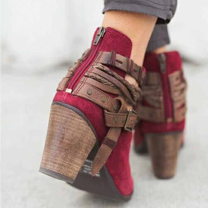 Kadın Çizmeler Moda Rahat Bayan Ayakkabı Martin Çizmeler Süet Deri Toka Çizmeler Yüksek Topuklu Fermuar Için kar ayakkabıları Femme