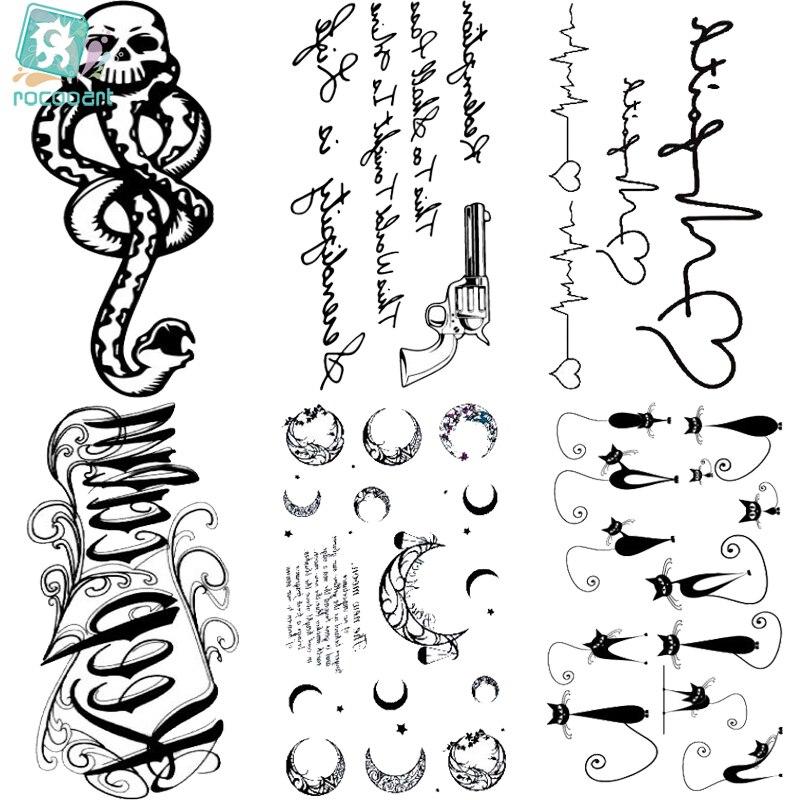 HC151-175 Waterproof Fake Tattoo Styling Tools Stickers Snake Pistol Black Rose Feather Arabic Temporary Tattoos Body Art Tattoo camiseta para quemar grasa