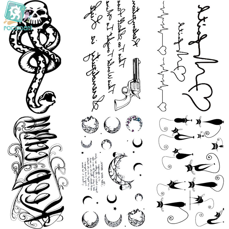 Rocooart HC151-175 Waterproof Fake Tattoo Styling Tools Stickers Snake Pistol Black Feather Temporary Tattoos Body Art Tattoo