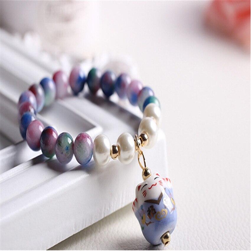 2017 fashion Porcelain natural bead Bracelet <font><b>lucky</b></font> cat Ceramic Beaded Bracelet for women charms bracelet bead feminino Cinnabar