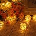 1.2 m 10led Bonito Handmade Rattan Bola Luz Cordas Para Festa de Casamento Casa Decorações de Natal Luzes LED 2 * AA bateria Operado
