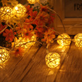 1.2m 10led Cute Handmade Rattan Ball String Light For Christmas Wedding Party Home Decorations LED Lights 2*AA Battery Operated